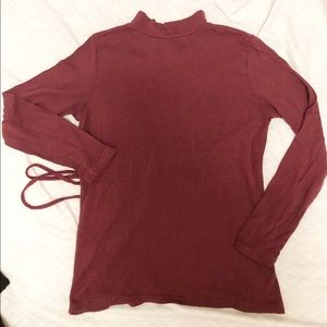 Other - Maroon Long Sleeve Open Back Shirt